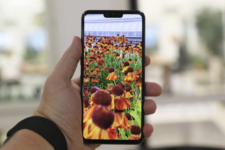 LG V50 front straight in hand