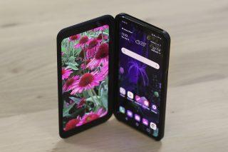 LG V50 in case top down angled