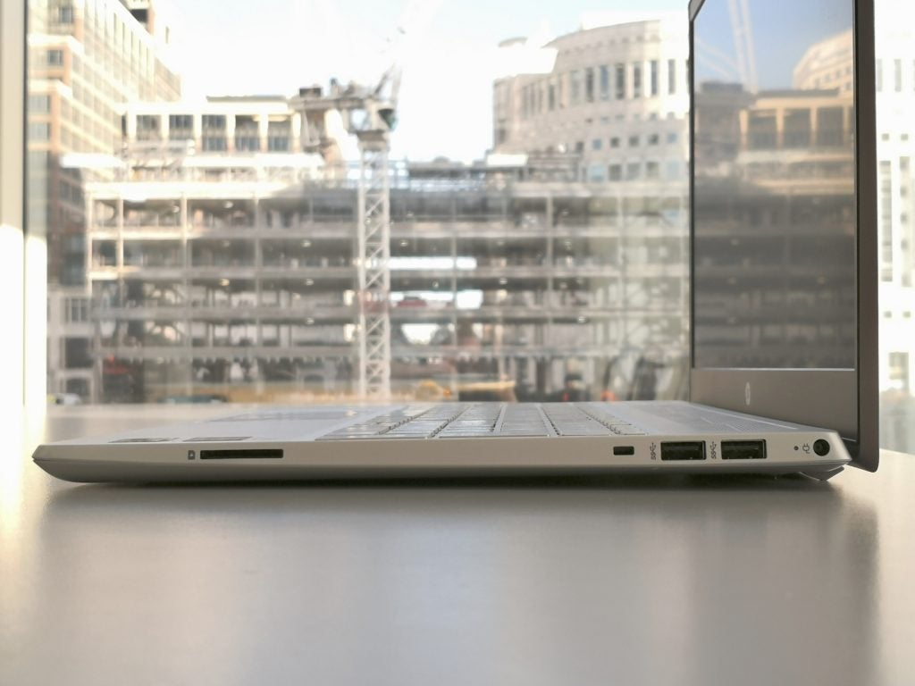 HP Pavilion 15 cs1506sa review - the ports of the right-hand side of the laptop, SD card reader, Kensington lock slot, two Type-A USB ports, and the port for the mains adapter