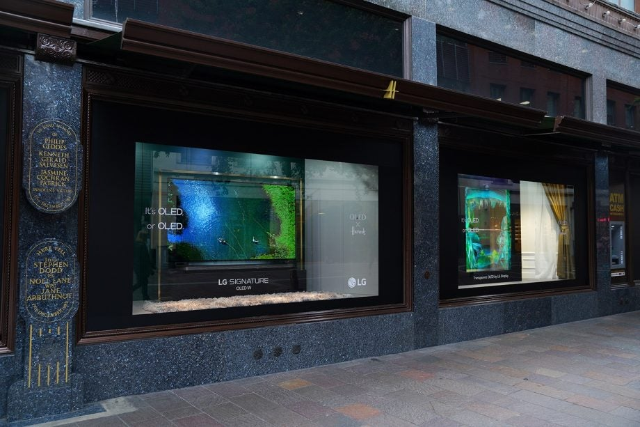 Harrods LG transparent OLED display