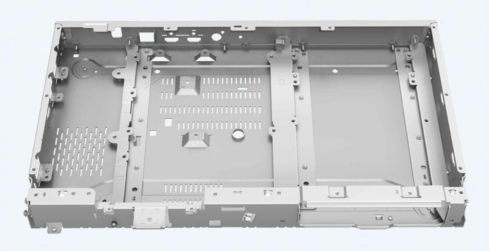 The Sony UBP-X800M2 4K Blu-ray player's internal chassis.