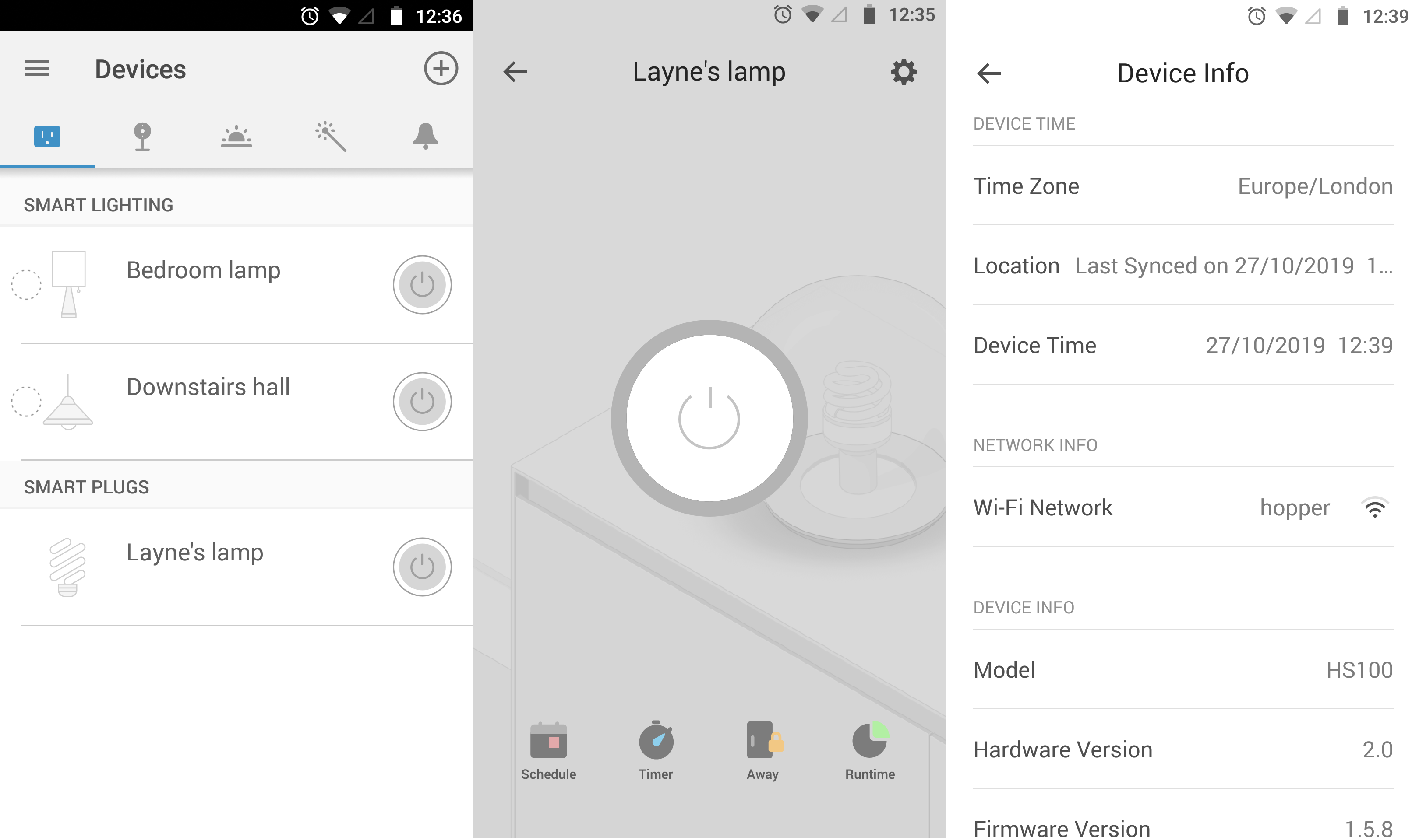 TP-Link Kasa app screenshots showing device configuration