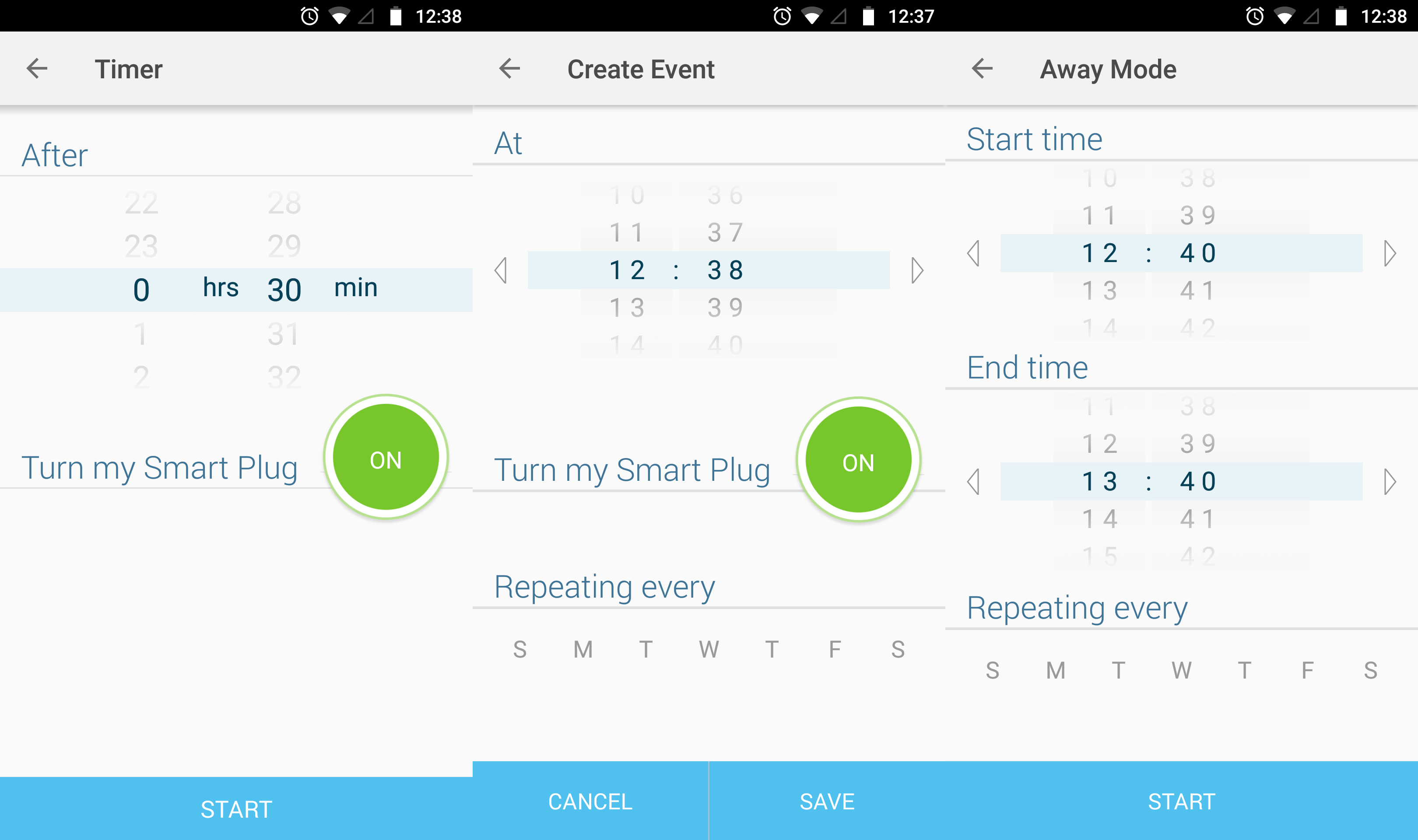 TP-Link Kasa app screenshots showing schedules and timers