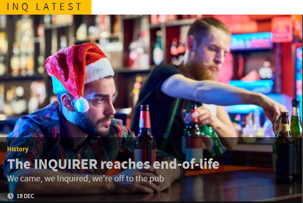 Shot of enquirer home page