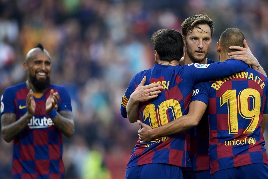 Napoli vs Barcelona how to watch guide - image of Barcelona players celebrating, via Getty