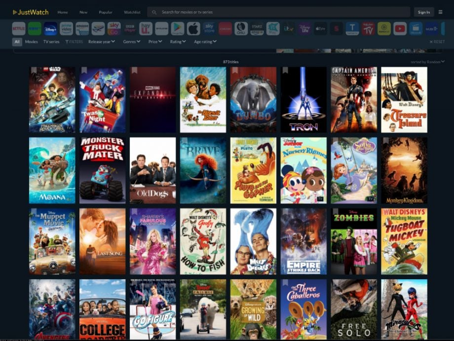 justwatch disney plus content library