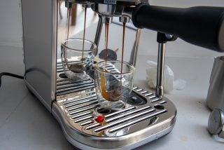 Sage The Bambino Plus pouring espresso