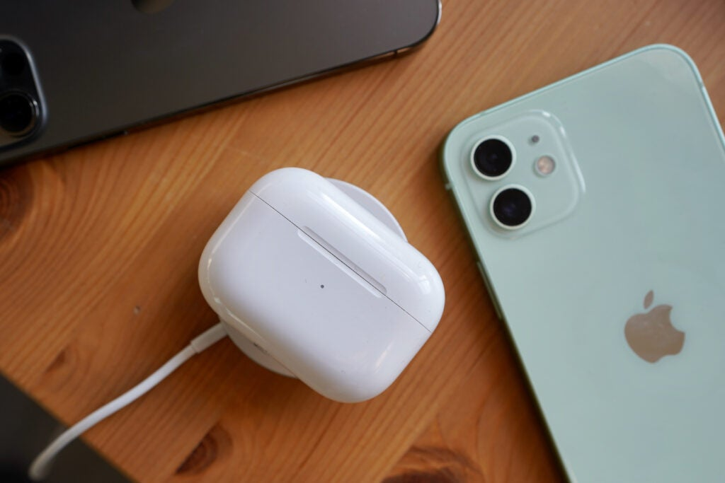iPhone 12 with Apple Airpods Pros and Magsafe charger