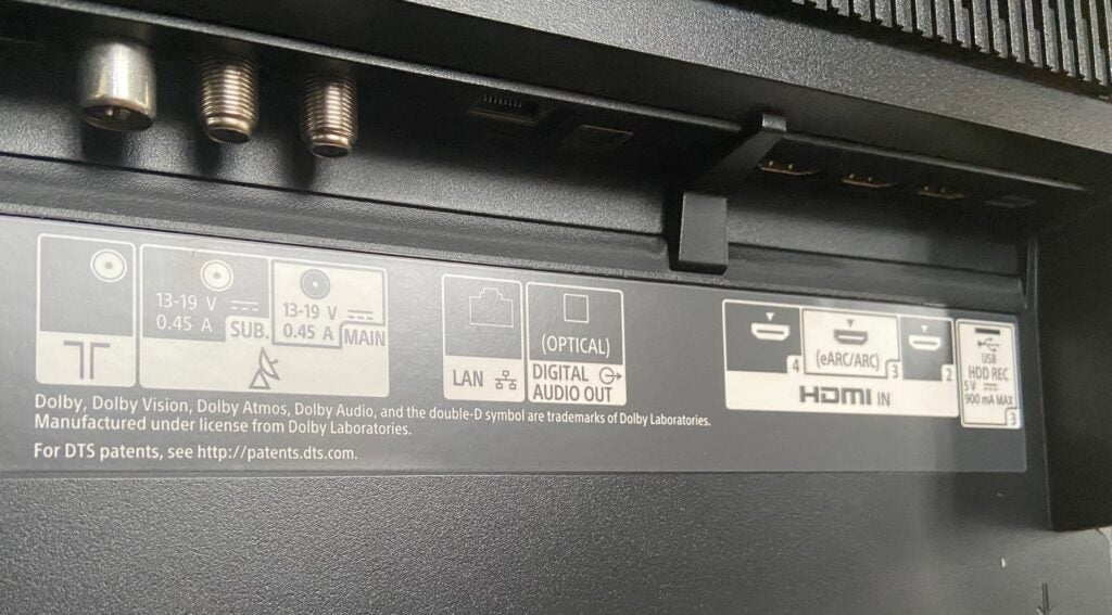 The underside connections of the Sony 48A9 OLED TV.