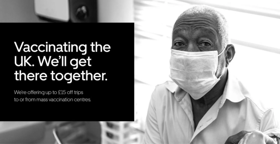 Uber vaccination centre promo