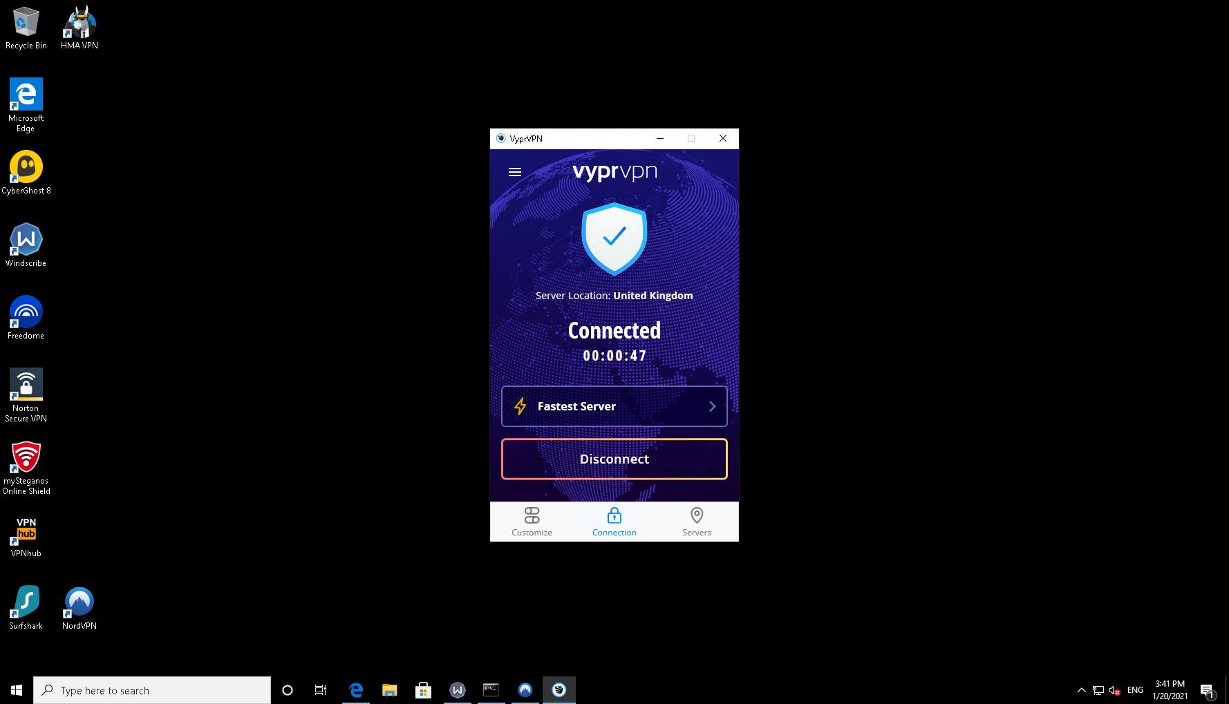 VyprVPN client on a Windows 10 desktop