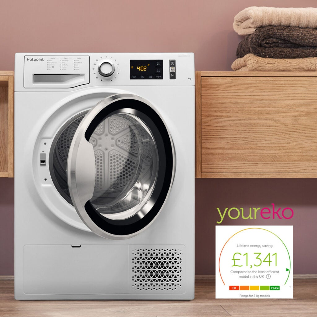 The Hotpoint ActiveCare 8 kg tumble dryer (NT M11 82XB) has a current 'A++' energy rating and can save users £1,341 over its lifetime in energy costs, according to energy savings tool Youreko