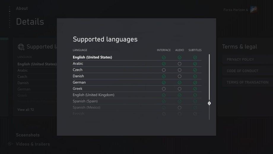Xbox languages