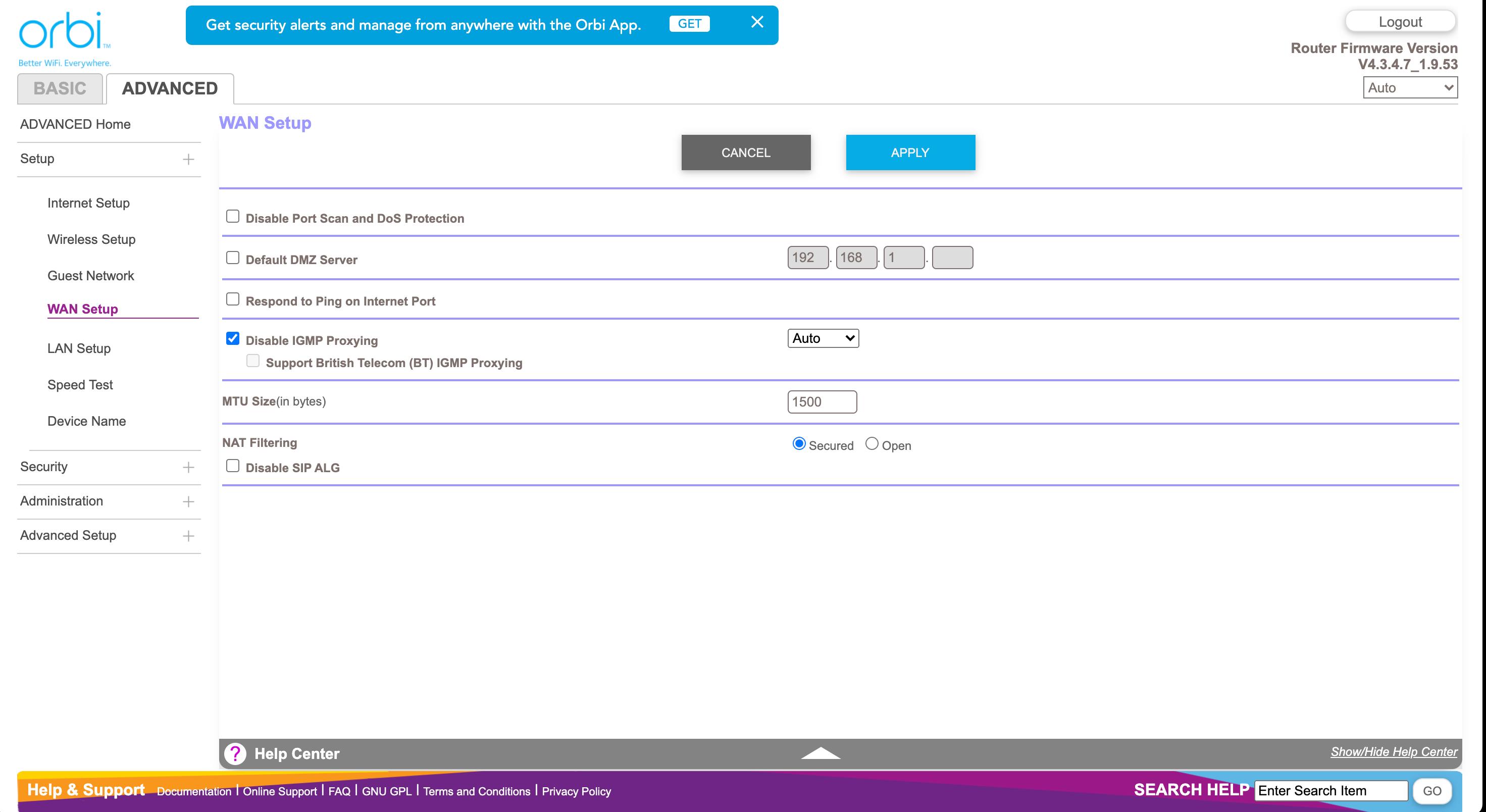 Netgear Orbi WiFi 6 Dual-band Mesh System (RBK353) web interface
