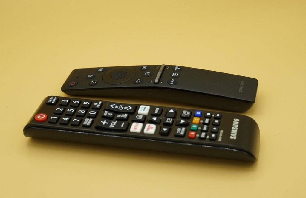 The two remotes for the Samsung Q65T / Q60T TV
