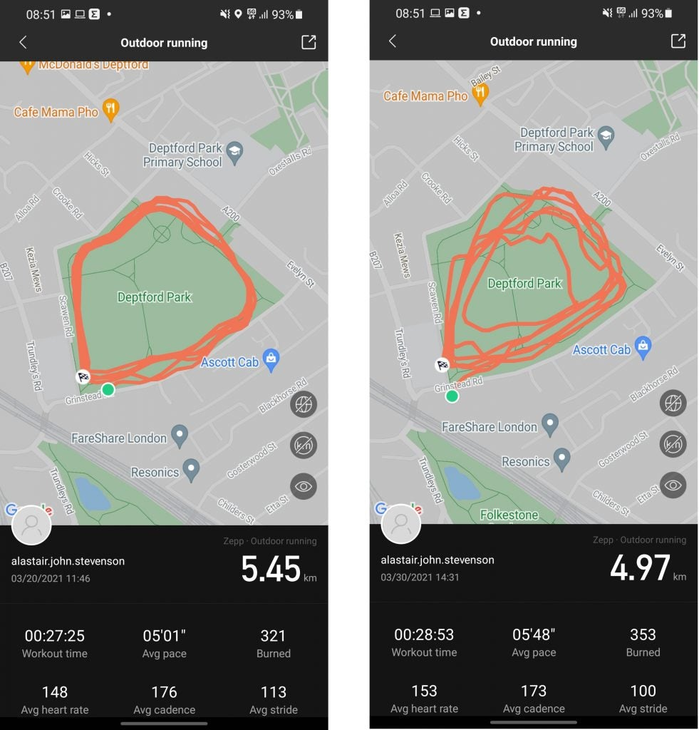 Amazfit GTS 2e distance tracking