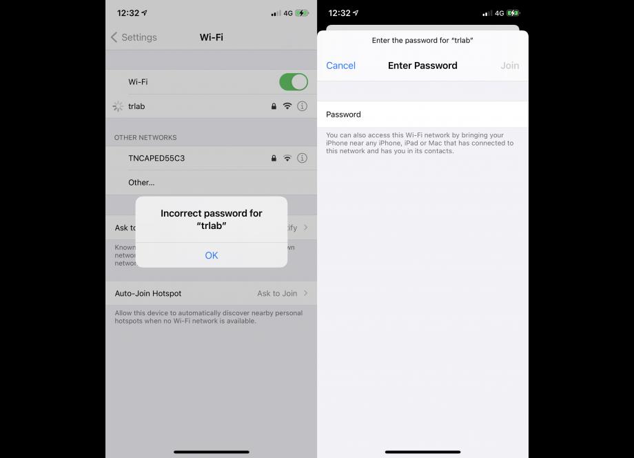 iPhone Incorrect Wi-Fi Password