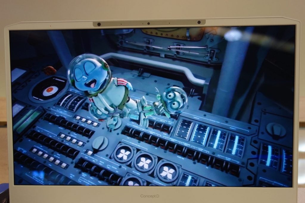 An Acer ConceptD laptop displaying a 3D video