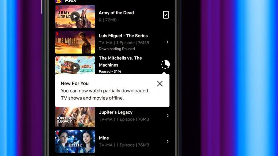 Netflix partial offline downloads Android