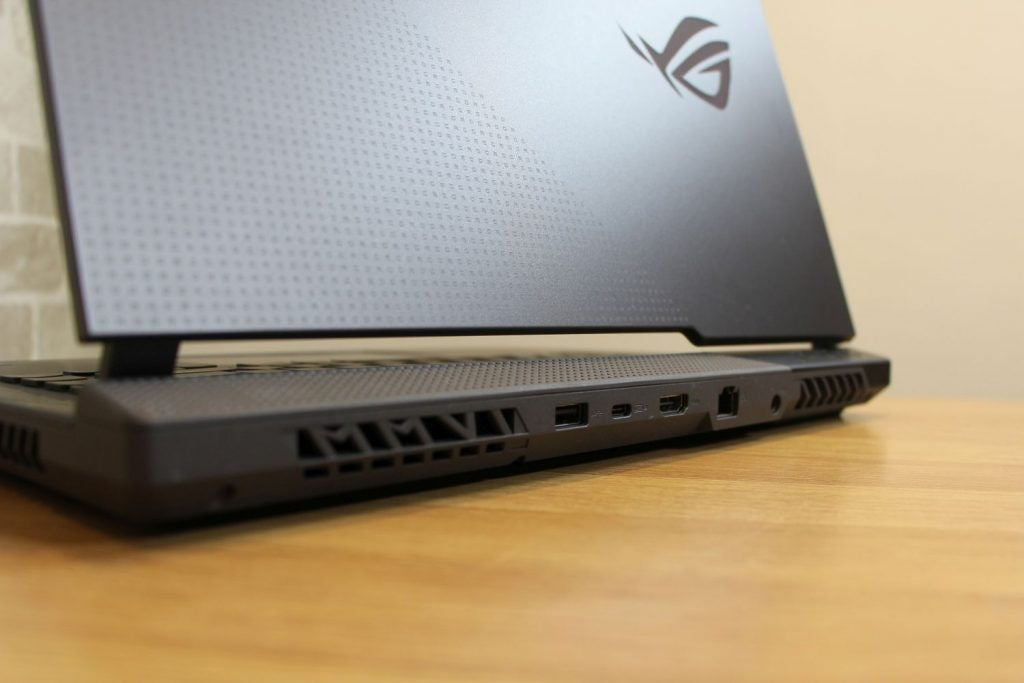 Asus ROG Strix G15 G513 rear, with numerous ports