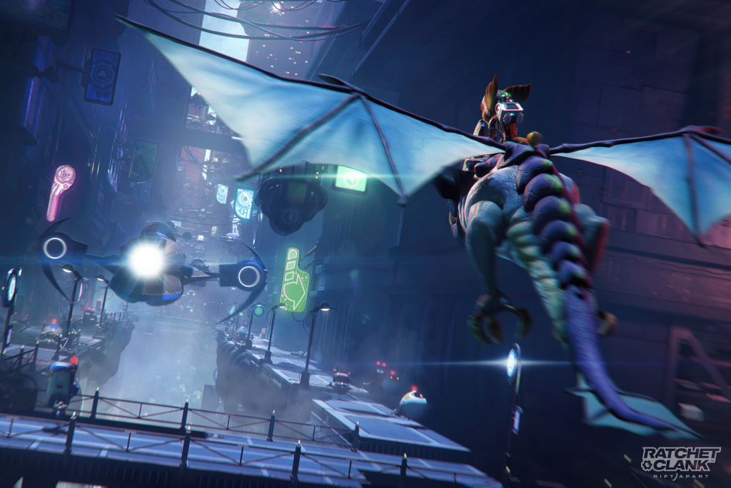 Ratchet and Clank riding an alien through a city