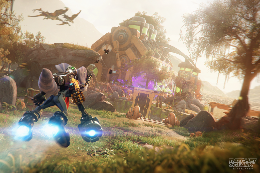 Ratchet and Clank: Rift Apart - Rivet using the hover boots to speed across a planet