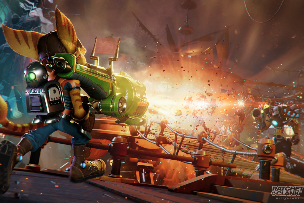 Ratchet and Clank: Rift Apart - Ratchet blasting at enemies with a rocket launcher