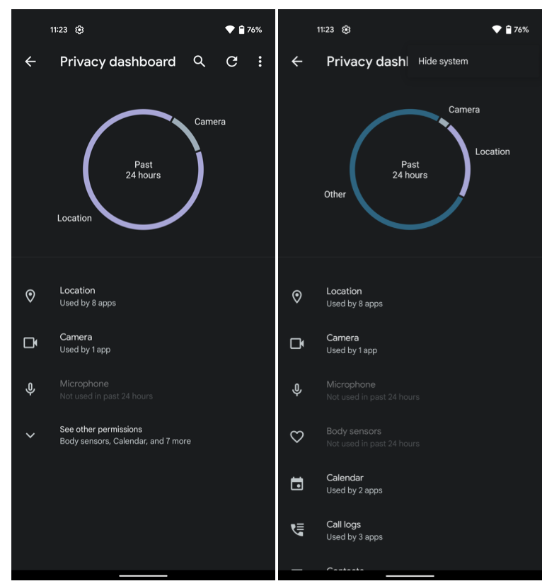 Android 12 privacy dashboard