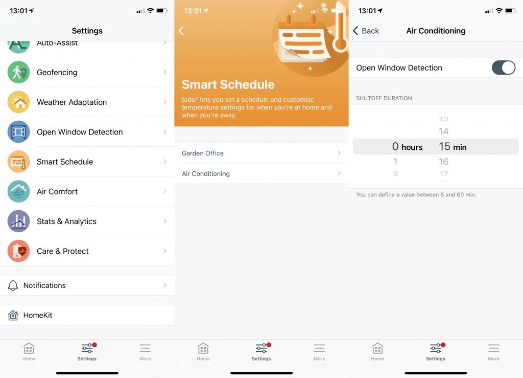 Tado Smart AC Control app advanced settings