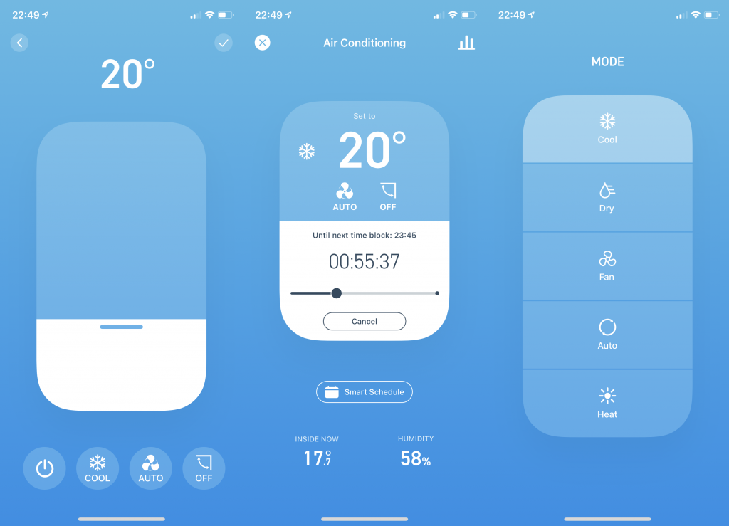 Tado Smart AC Control manual temperature control and mode settings in app