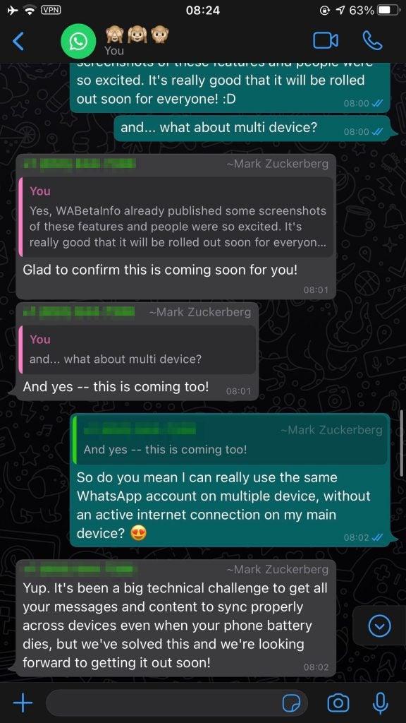 WhatsApp Beta conversation Zuckerberg
