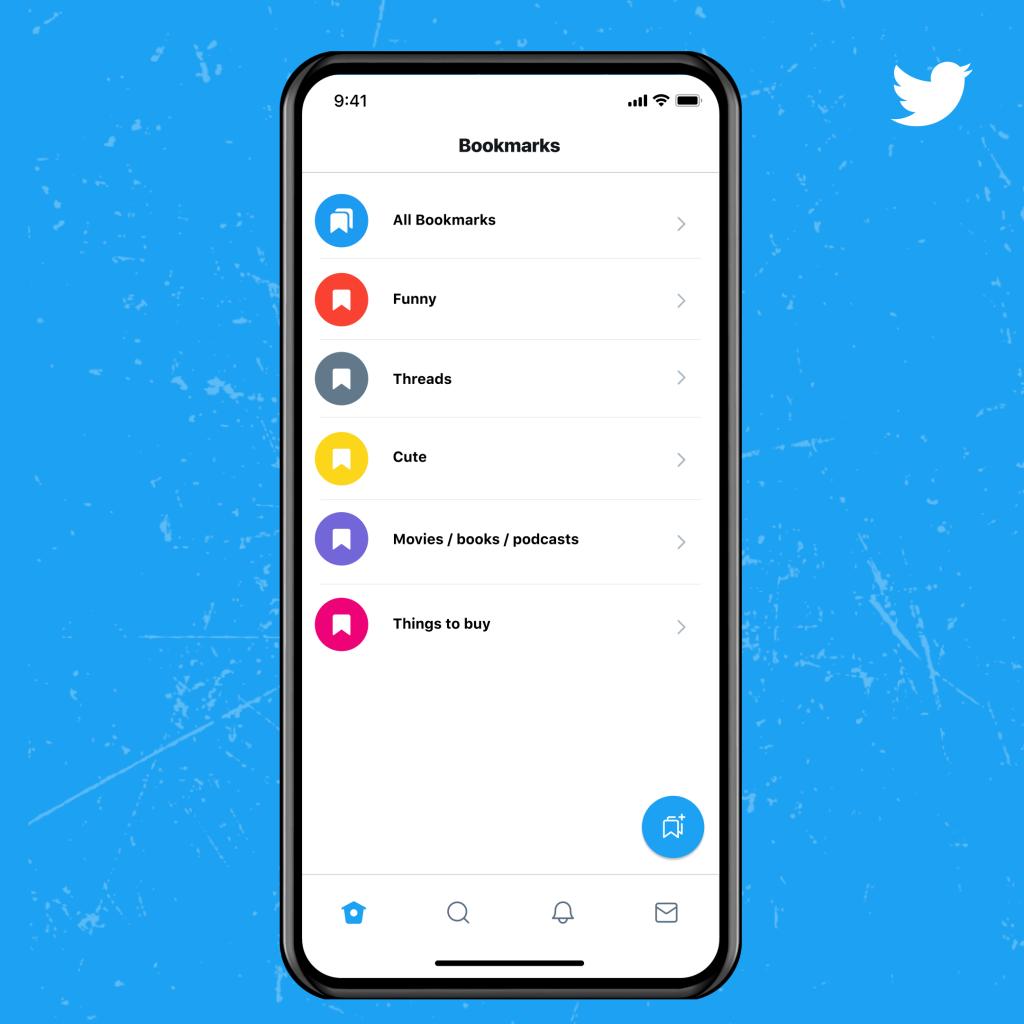 Twitter Blue Bookmark Folders