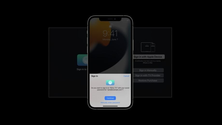 Apple TV sign in with Apple Device