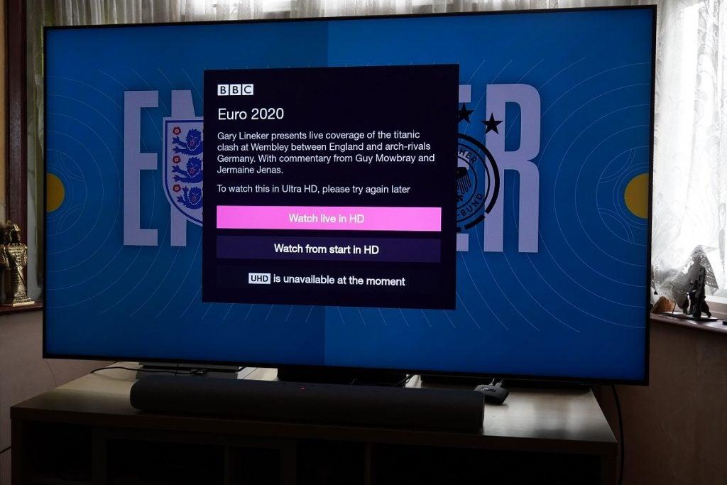 Streaming Euro 2020 in UHD on iPlayer