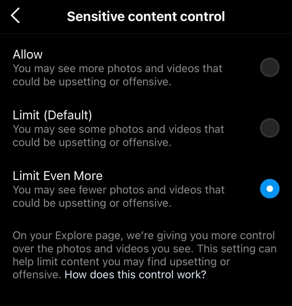 The options given from Instagram in regards to keeping sensitive content off a user's explore page.