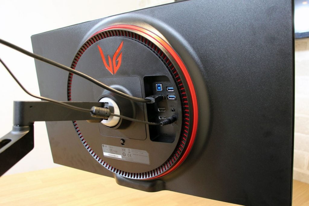 The rear of the monitor