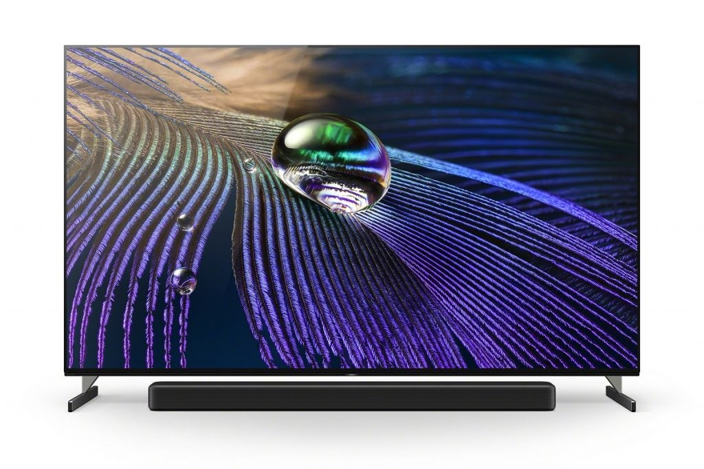 Sony XR-55A90J OLED with soundbar in front