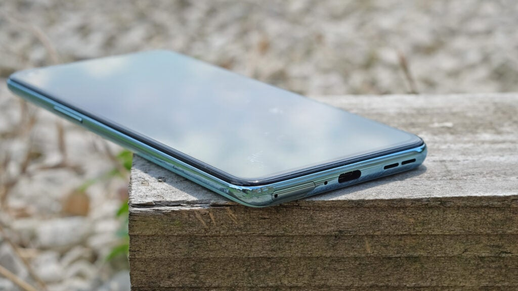 You can see the USB-C port on the bottom of the OnePlus Nord 2 5G