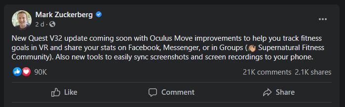 Facebook MZ Oculus
