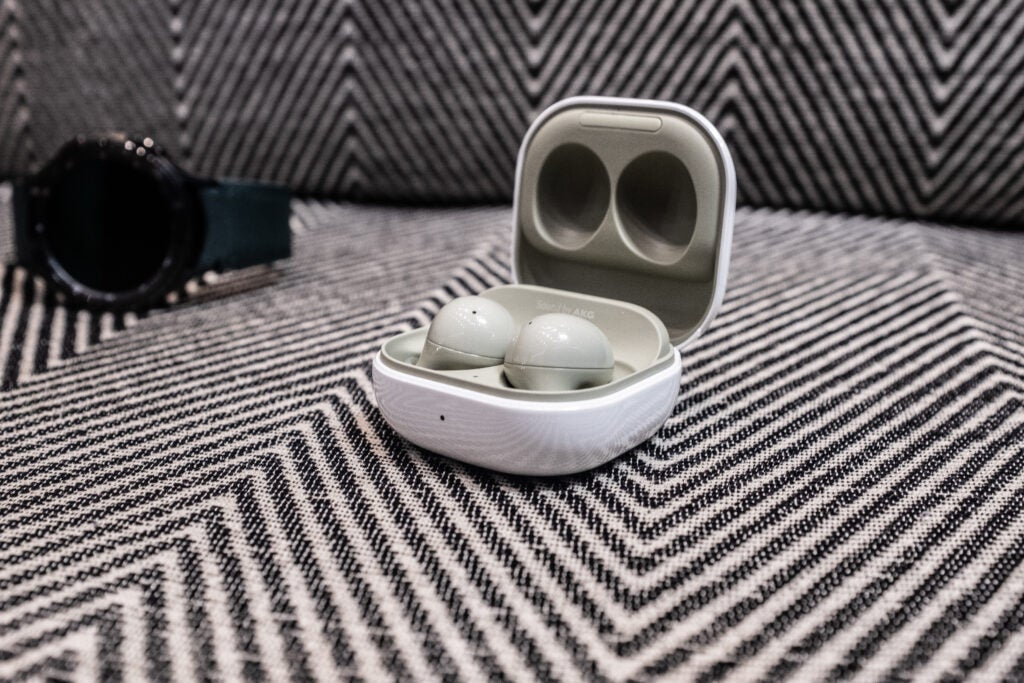 Samsung Galaxy Buds front on green