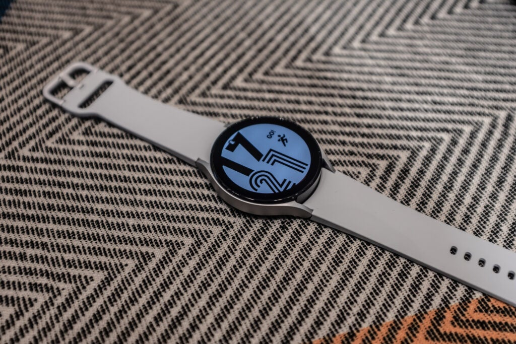 Galaxy Watch 4 with white strap