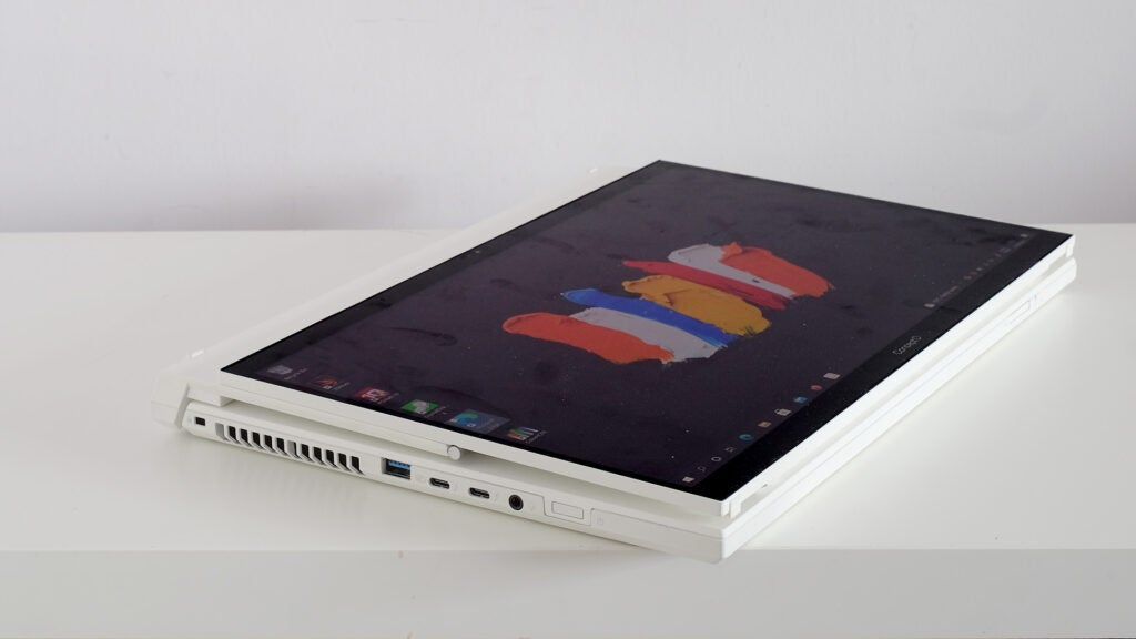 Laptop folded into tablet form