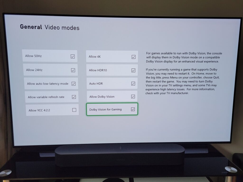 Dolby Vision for Gaming enable LG TV